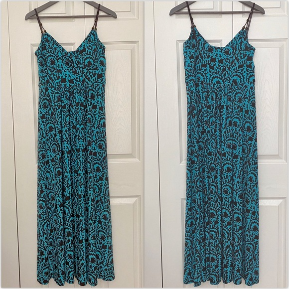 EUC American Living Turquoise and Brown Maxi Dress